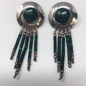 Sterling malachite earrings, marked sterling